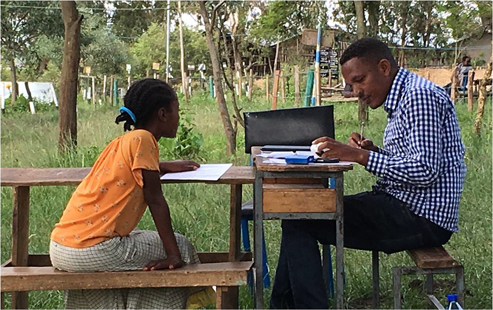 Student and teacher in Ethiopia