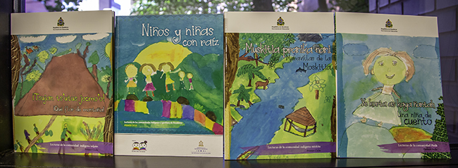 Image of brightly colored Honduran children's books