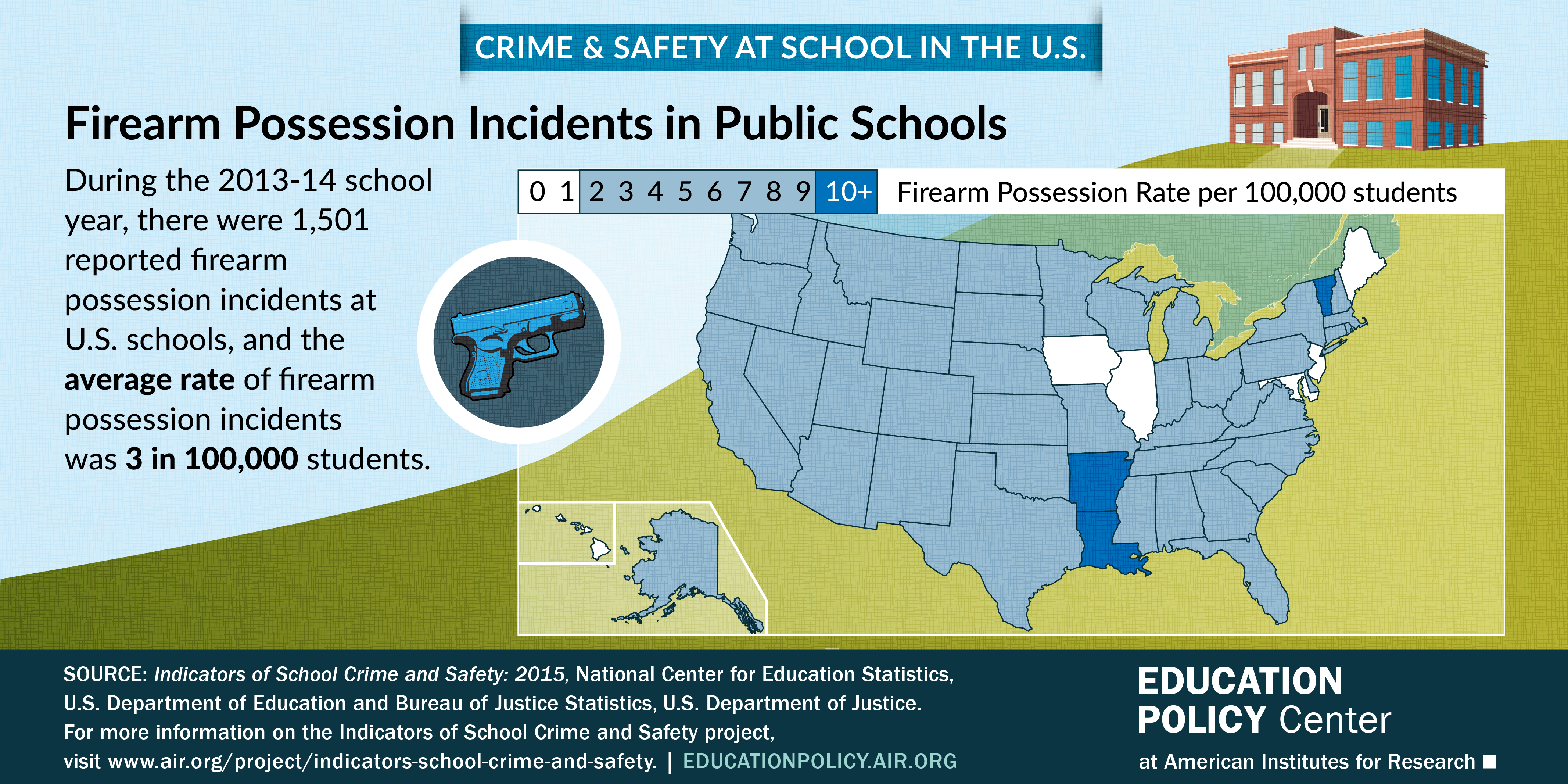 Infographic shows the firearm possession incident rate at U.S. Schools per state.