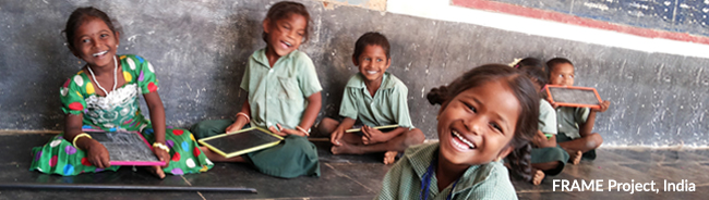 Happy school children in FRAME program, India