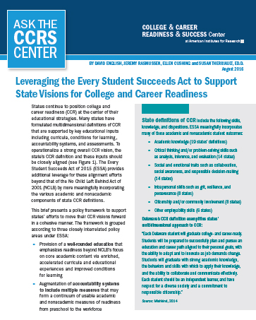 Image of Leveraging ESSA for College and Career Readiness report cover