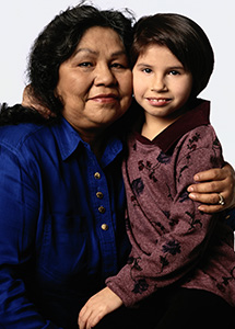 Native American woman and granddaughter