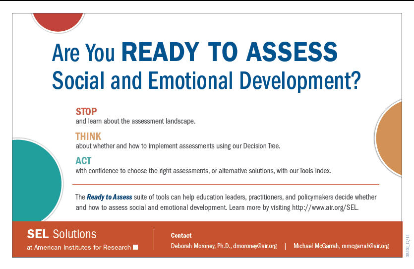 Are You Ready To Assess Social And Emotional Development  American