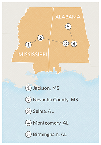 Map of Civil Rights Learning Journey stops
