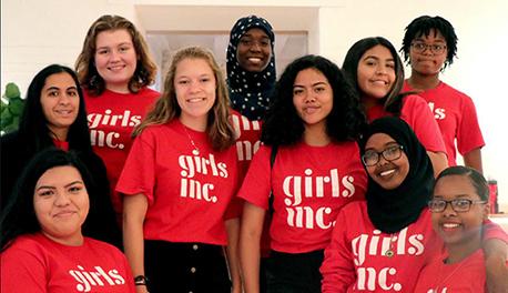 Image of girls wearing Girls' Inc. t-shirts
