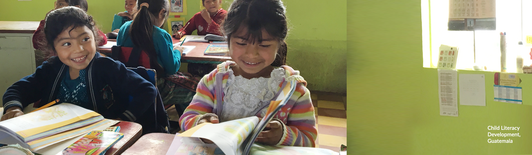 Image of two girls in a classroom in Guatemala