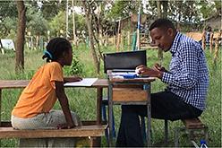 Student and teacher in Ethiopia