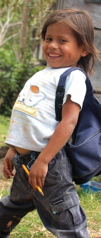 Nicaraguan child with a backpack