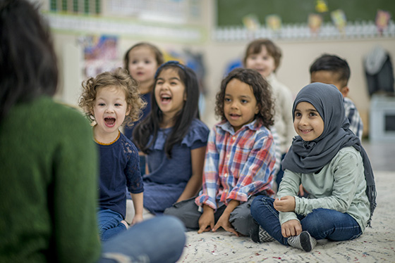 Image of a diverse group of preschoolers