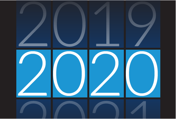 Graphic showing 2019 turning to 2020