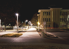 College campus at night