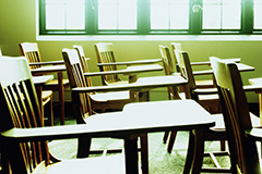 empty desks in a classroom
