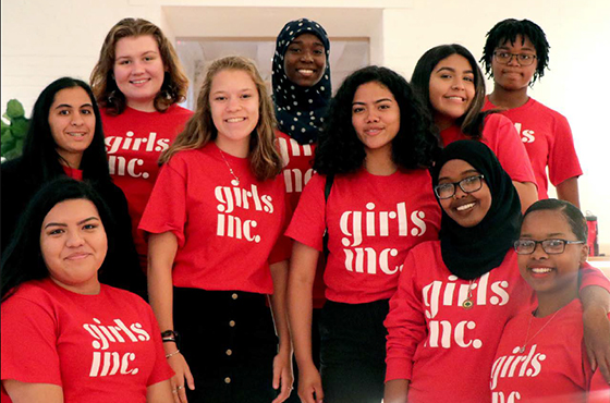 Image of girls wearing Girls' Inc. t-shirts