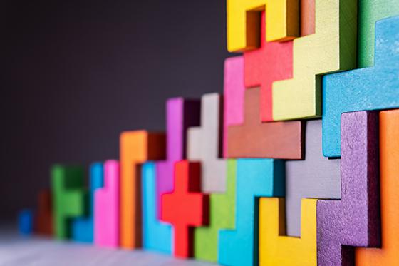 Image of interlocking colorful blocks