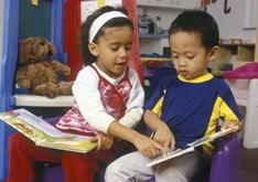 preschoolers with books