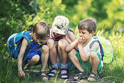 Image of young children looking at bugs in a field