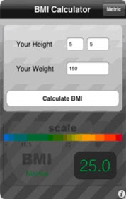 Image of BMI calculator app for iPhone
