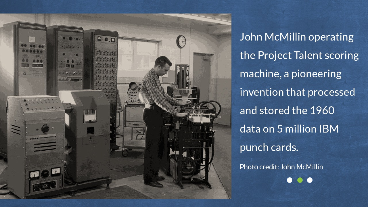 John McMillin operating the Project Talent scoring machine