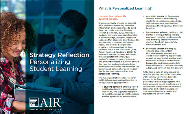 Image of personalized learning strategy reflection cover