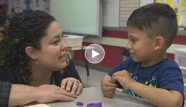 Image of kindergarten teacher and student