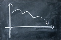 Downward graph on chalkboard