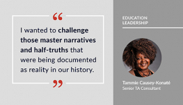 Image of graphic featuring a quote from Tammie Causey-Konate