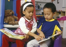 preschoolers with books