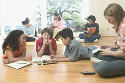 Teenagers working together in a group