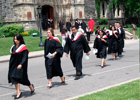 college graduation procession