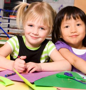 Two kindergarten girls